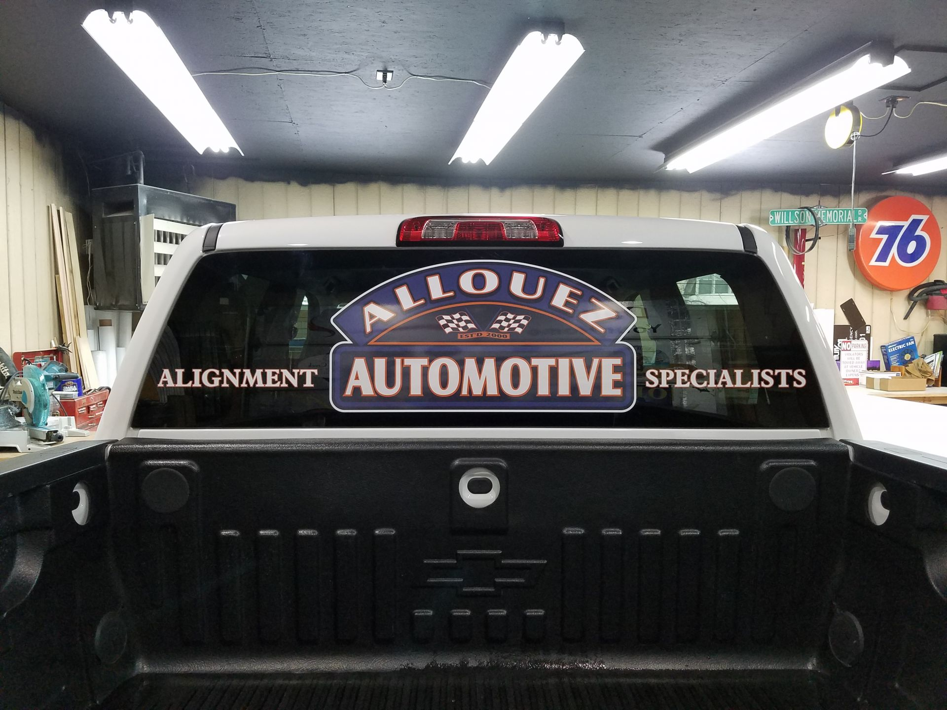 Allouez Automotive Alignment Specialists Window Decal