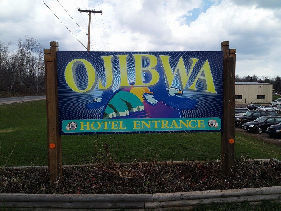 Ojibwa Casino Welcome Sign
